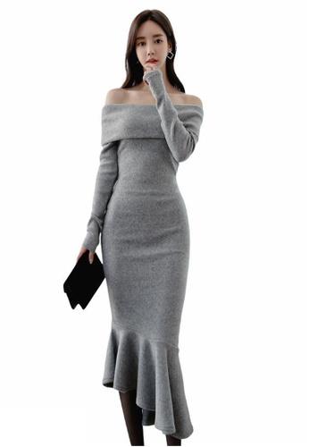 Crystal Korea Fashion grey South Korea's new strapless high mermaid dress 653E7AA7D91F84GS_1