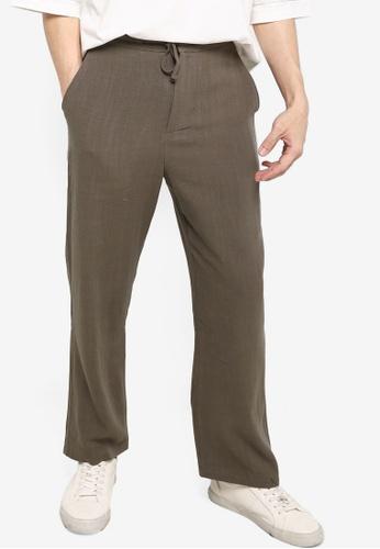 ZALORA BASICS green Linen Blend Drawstring Pants 74961AA64A4974GS_1