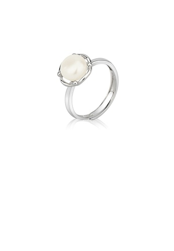 Glamorousky white 925 Sterling Silver Simple and Elegant Geometric Round White Freshwater Pearl Adjustable Ring 05E79ACBF5BA6FGS_1