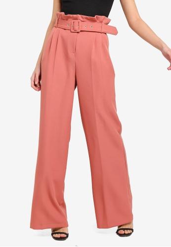 Buy Miss Selfridge Pink Belted Wide Leg Trousers Zalora Hk