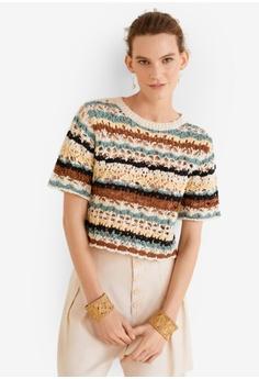 cb03ee38df6 MANGO multi and beige Crochet Cotton Sweater BD3EBAAC6A70EDGS 1