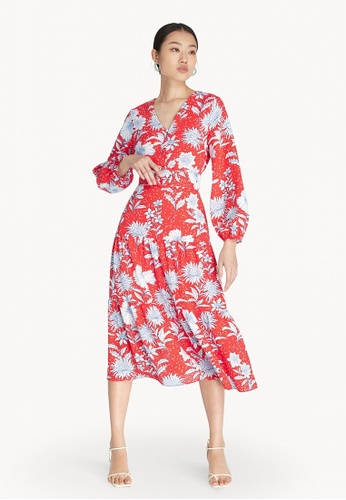 Pomelo red Floral Belted Dress - Red AC520AA4624859GS_1