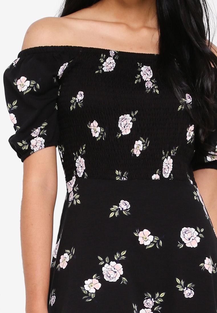 Dorothy Black Floral Bardot Black Perkins Dress qxvZxPt