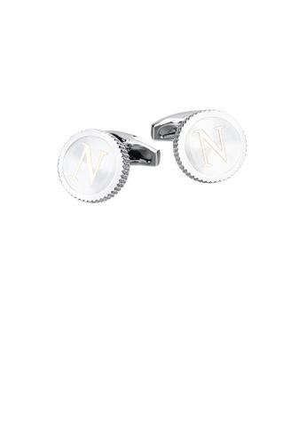 Glamorousky silver Fashion Simple English Alphabet N Round Cufflinks 8210FAC538AD73GS_1