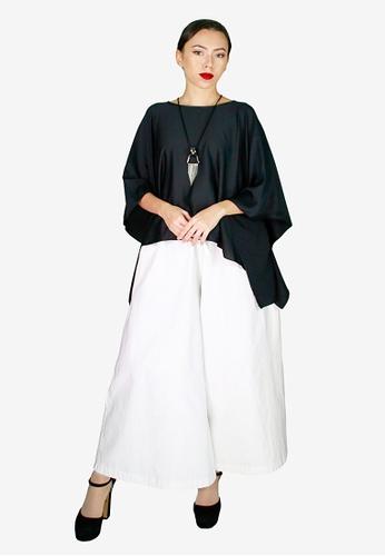 PANGOI black PANGOI Modern Silk Kaftan Palazzo Pants Set E100DAAF5AA7FAGS_1
