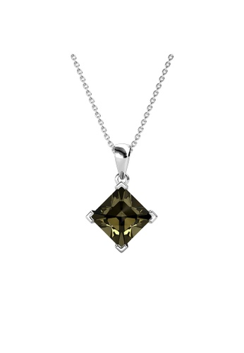 Her Jewellery grey Princess Square Pendant (Grey) - Made with Premium grade crystals from Austria 4BCAEACB145EEBGS_1