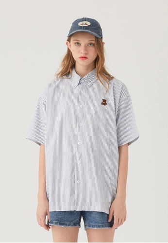 Twenty Eight Shoes Loose Stripe Embroidered Shirt HH0355 60A3CAAA11AD81GS_1