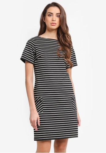 Dorothy Perkins black Stripe Zip Pocket Shift Dress C744AAA57EBA08GS_1