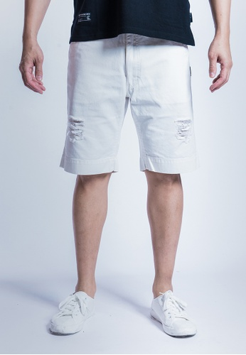 L.I.M.I.T.E 白色 介爛斜紋短褲 6AEBDAA41FF772GS_1