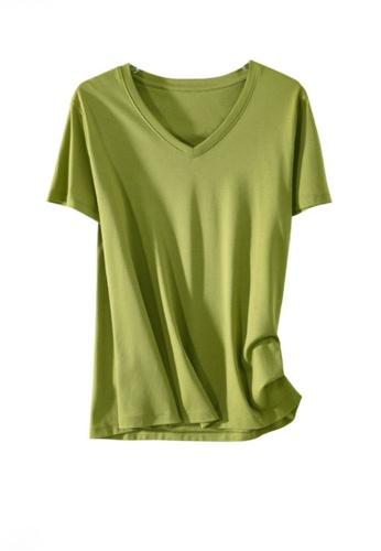 Twenty Eight Shoes green VANSA V-neck Mercerized Cotton Short-sleeved T-Shirt VCW-Ts1902V 2186BAAD9AA480GS_1