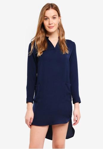 ZALORA BASICS navy Shirt Dress With Pocket 18BAAAA88DA2EFGS_1