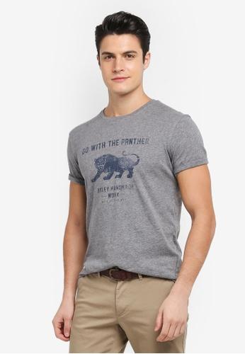 Sisley 灰色 拓印風格老虎圖案T恤 B764EAA9F4C811GS_1
