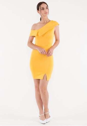 BEBEBEIGE yellow BebeBeige Slim Fit One Shoulder Evening/Cocktail Short/Mini Dinner Dress 8DE23AAB8E99E1GS_1