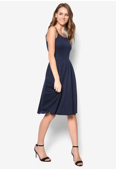Basic Cami Midi Fit And Flare Dress