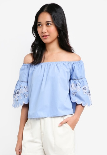 Something Borrowed blue Embroidered Off Shoulder Top EC0EAAAE0CE345GS_1