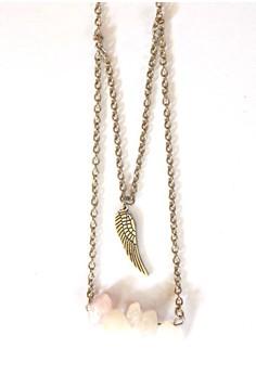 Rose Quartz Wing Necklace