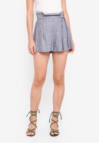 Miss Selfridge 藍色 Blue Striped Paperbag Shorts 02DF9AAAA5B297GS_1
