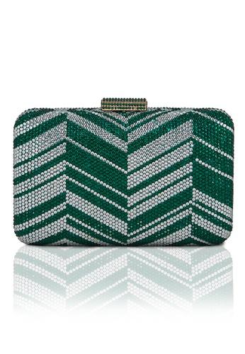 The Chic Initiative green Zig Zag Crystal Clutch (Green) TH778AC0T0OSMY_1