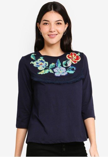 ESPRIT navy Embroidered Short Sleeve Top BE090AAD3EE26FGS_1