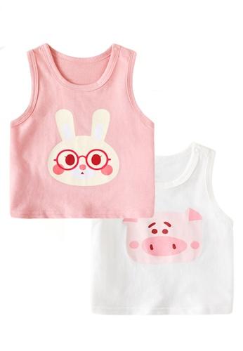 Kiddies Crew white and pink and multi (2 Piece) Bunny Rabbit and Little Piggy Pig Boys Girls Baby Kids Sleeveless Singlet Tank Top Tee Shirt (T-shirt) 8EA96KA34690A6GS_1