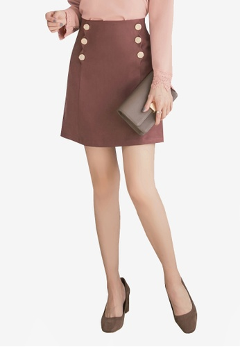 Yoco brown Double Buttoned Skirt 18FF1AAC09E31AGS_1