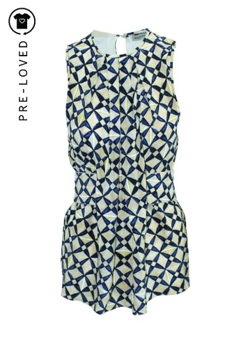 BALENCIAGA blue Pre-Loved balenciaga Beige Silk Top with Blue Print AC041AAB679B27GS_1
