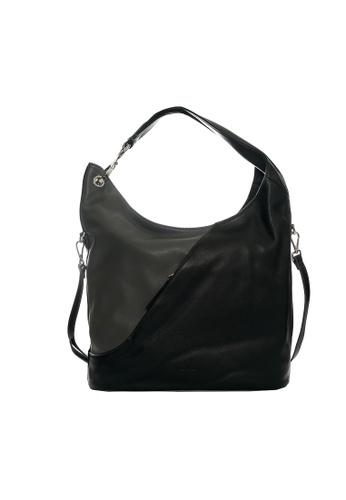 Pierre Cardin black and grey Helenor Medium Hobo Bag 6AAFBAC5069BDCGS_1