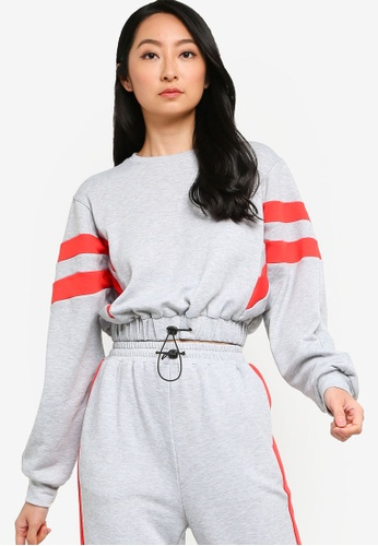 ZALORA BASICS grey Lounge Drawstring Stripe Sweatshirt E1574AAAC91CCAGS_1