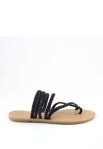 London Rag black London Rag Womens Black Stripes Flat Sandals SH1195 LO360SH0FP8ESG_1