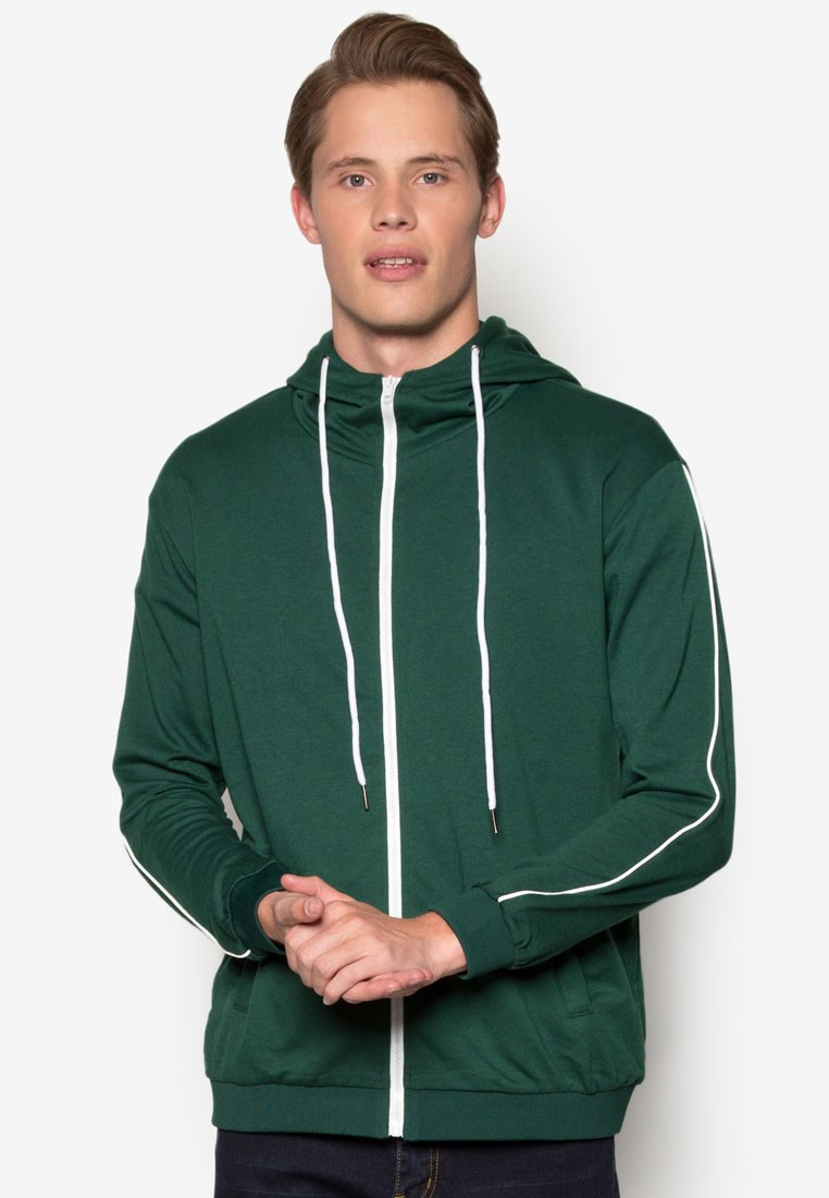 High Neck Hoodie With Piping Sleeve Detail