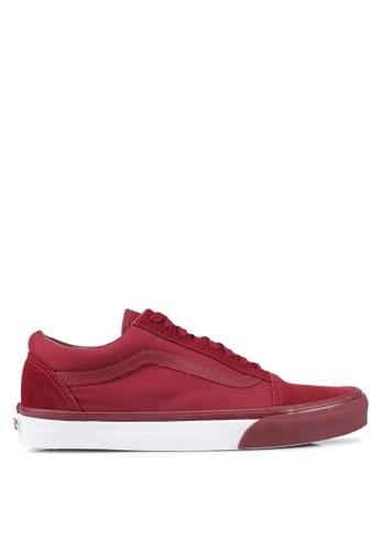 VANS white and red Old Skool Mono Bumper Sneakers VA142SH0SWRHMY_1