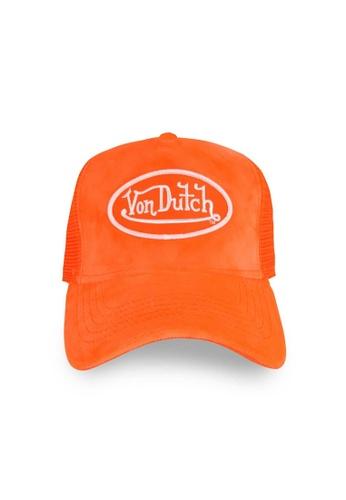 Von Dutch orange Von Dutch Neon Orange Velvet Trucker Cap 0FA7BAC6E014BCGS_1
