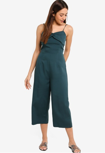 ZALORA green Twisted Front Jumpsuit D94C3AA3BABF97GS_1