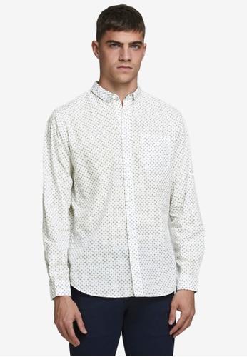 Jack & Jones white Windsor Long Sleeves One Pocket Shirt 6ACE2AA28B7755GS_1