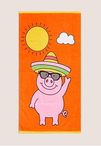 MARKS & SPENCER orange M&S Pure Cotton Percy Pig Bath Towel F980EHL9526F6DGS_1