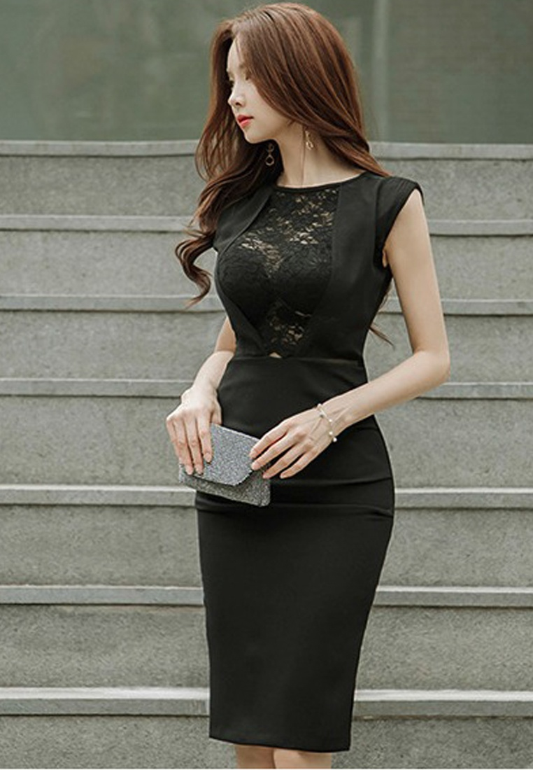Dress A051616 Black Sunnydaysweety See 2018 One New Sleeveless Black Through Piece 8ZZ0RwPn