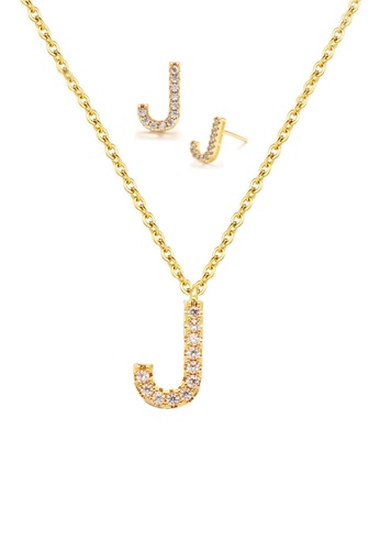 """Atrireal gold ÁTRIREAL - Initial """"J"""" Necklace + Earrings Jewellery Set in Gold 0E042AC4CCD181GS_1"""