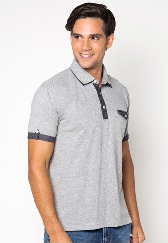 Solid Cotton Lacost Polo Shirt With Denim Combination And Double Kragh