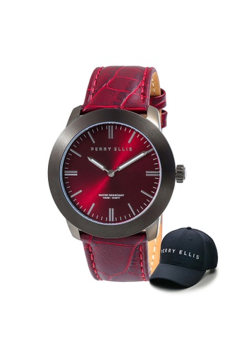 Perry Ellis red Perry Ellis Slim Line Unisex 42mm Quartz Watch 07007-01 with Perry Ellis Cap F19FDACBC6DE1FGS_1
