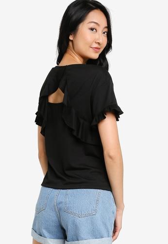 ZALORA BASICS black Ruffle Detail T-Shirt C5260AA218D0BDGS_1