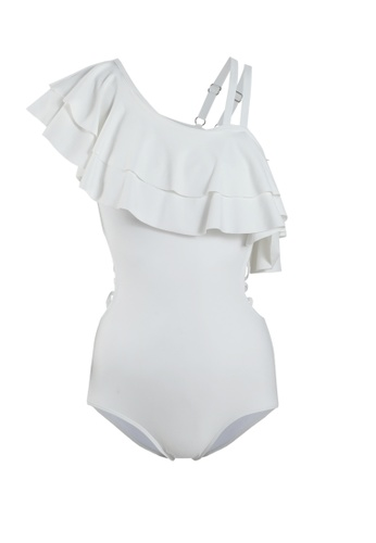 Its Me white Sexy Lotus Shoulder One-Piece Swimsuit 71E9CUS553AC28GS_1