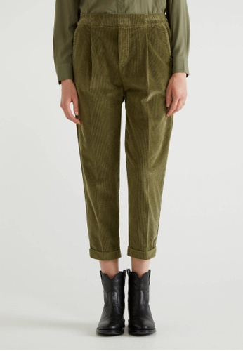 United Colors of Benetton green Velvet Chinos with Cuff 4620EAAD798FB8GS_1
