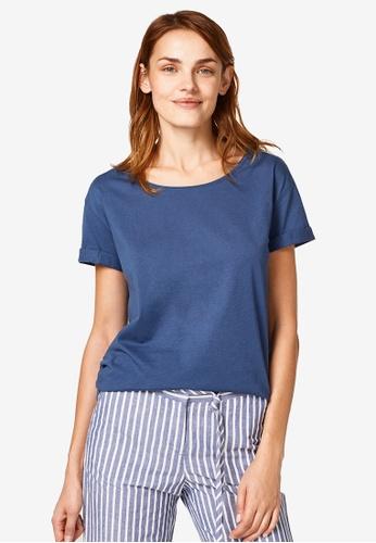 ESPRIT blue Round Neck T-shirt DFC96AA16B55DFGS_1