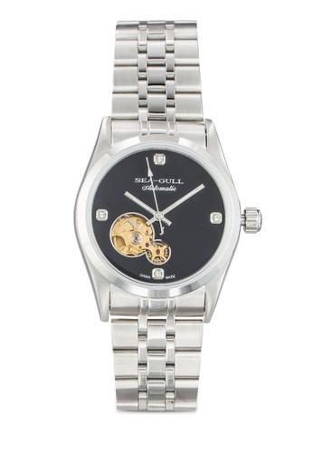 Seagull M149SK(ST1603K 機械機芯) 35mesprit台北門市m 極簡黑錶盤鏤空圓錶, 錶類, 飾品配件