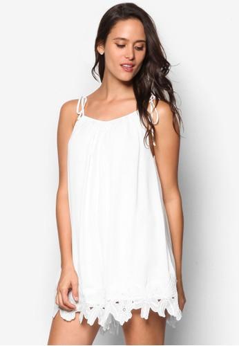 蕾絲邊zalora是哪裡的牌子飾細肩帶連身裙, 服飾, 連身褲