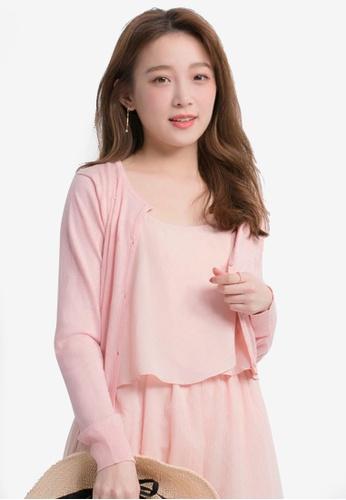Yoco pink Heart Shape Patterned Cardigan CAA8DAA771A443GS_1