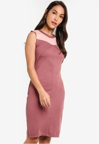 ZALORA 粉紅色 撞色Overlap 無袖洋裝 D8C48AA5A9EBBFGS_1