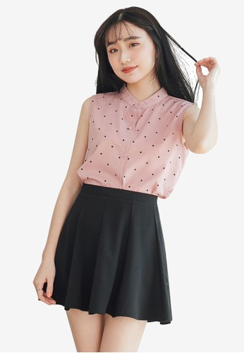 Tokichoi pink Button Front Chiffon Polka Dot Top 9C7C0AAD34E753GS_1