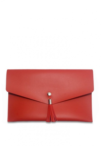 Louiebelle Collection red Sophia Clutch LO122AC0K97RPH_1
