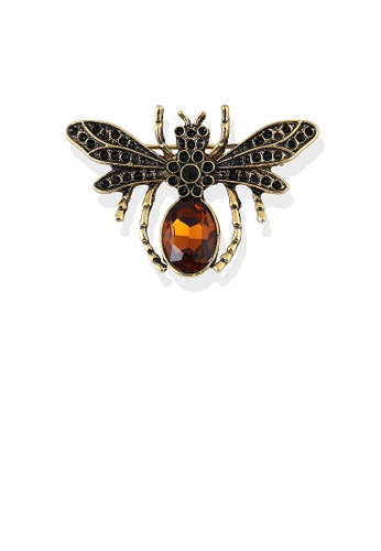 Glamorousky brown Fashion and Elegant Plated Gold Dragonfly Brooch with Brown Cubic Zirconia 32616AC7032E4DGS_1